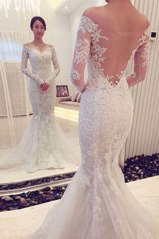 Elegant Mermaid Off The Shoulder Long Sleeve Lace Wedding Dress