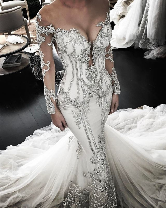 Elegant Beautiful Lace Appliques Mermaid Long Sleeve Wedding Dresses   Mermaid Online Cheap Bridal Gowns