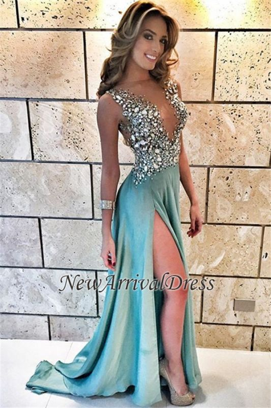 Sleeveless A-line Crystals Delicate Front-Split Straps Prom Dress  Item Code   D153413443755934  dca33c75d