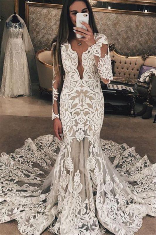 Long Sleeve Unique Lace Wedding Dresses Cheap | Mermaid Lace Long Train Bridal Gowns