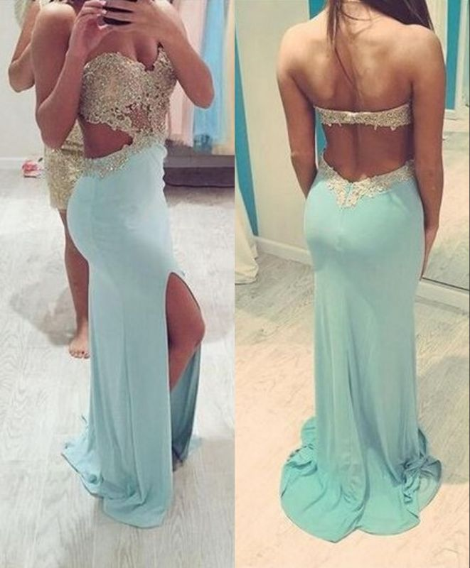 Mint Lace Beading Backless Slit Prom Dresses Sexy Sheath Evening Gowns