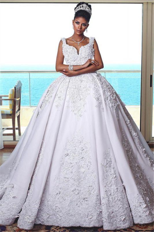 Glamorous Straps Lace Wedding Dresses | 2019 Sleeveless Puffy Ball Bridal Gowns