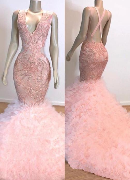 Mermaid Ruffles Junior Long Prom Dresses Cheap   Pink V-Neck Sleeveless Open Back Lace Evening Dresses