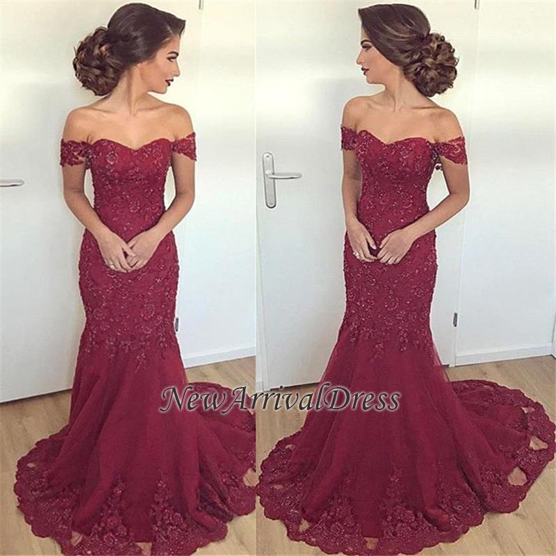9f808edb3e Lace Glamorous Burgundy Mermaid Appliques Long Off-the-Shoulder Evening  Dress  Item Code  D153413450418826