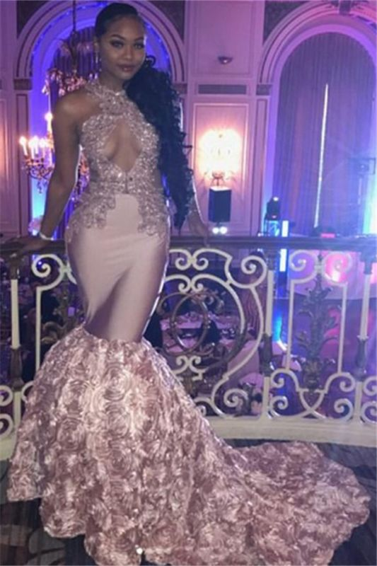 Long Pink High Neck Mermaid Prom Dresses | Appliques Sleeveless Keyhole Formal Dresses with Beads SK0138