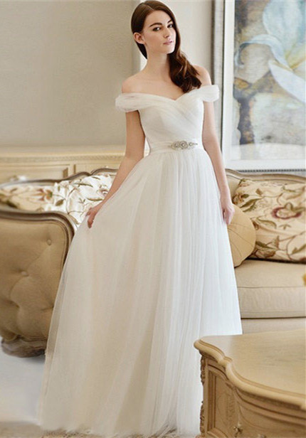 Off The Shoulder Long Sexy Cheap New Arrival A-line Crystal Wedding Dresses