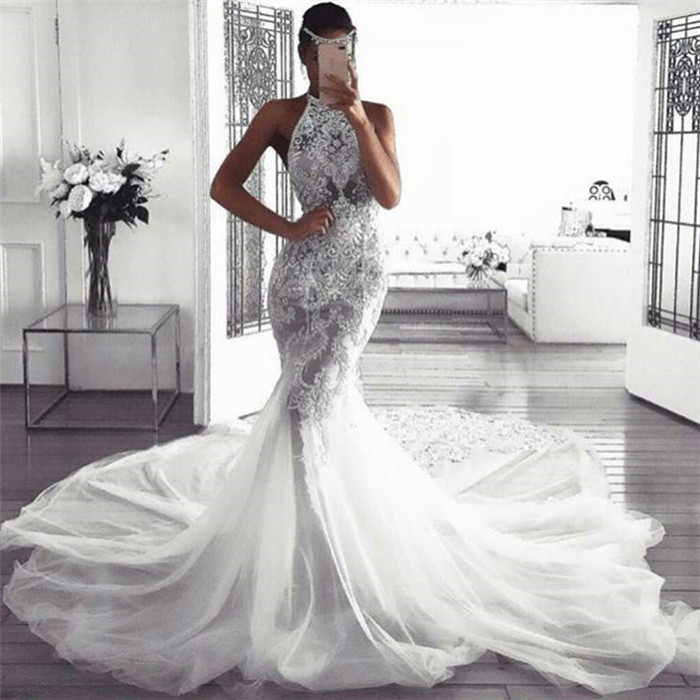 Sexy Sleeveless Halter Wedding Dresses With Lace Mermaid Fluffy Tulle Bridal Dresses With Chapel Train Newarrivaldress Com