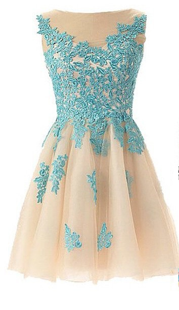 Mint Lace Sheer Short Homecoming Dresses Crew Neck Cocktail Dresses
