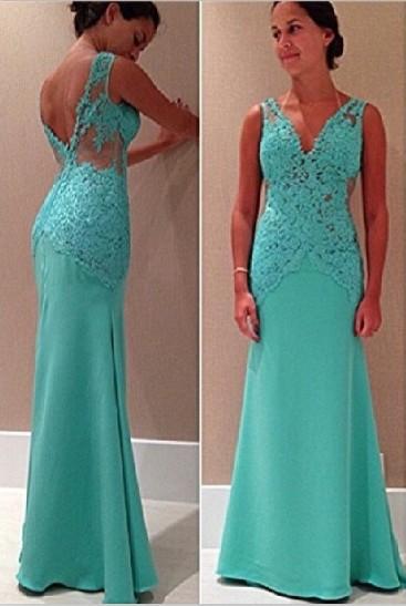 12cc8e03c8c New Fashion Prom Dresses Sexy Sleeveless V Neck Lace Appliques Mint Green  Backless Long Evening Dresses