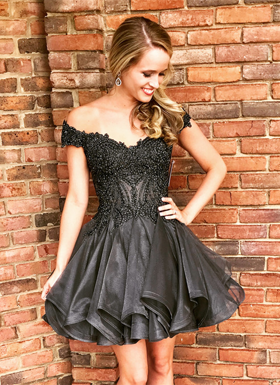 Delicate Black Off-the-shoulder Beads Homecoming Dress   Short Zipper Party Gown