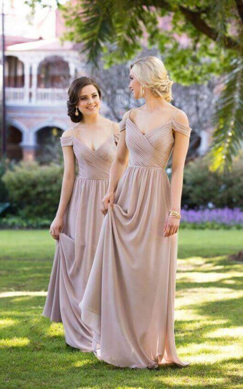 Sexy Brown Off-the-shoulder Chiffon Long Bridesmaid Dresses