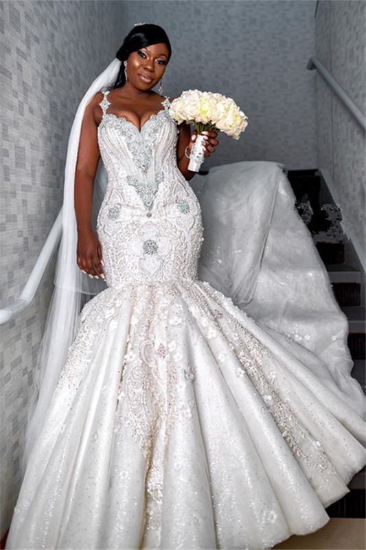 Spaghettiträger Luxus Schatz Brautkleider | Appliques Perlen Meerjungfrau Brautkleider