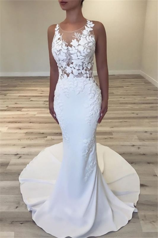 2019 Sexy Sleeveless Mermaid Wedding Dresses | Cheap Scoop Flowers Bridal Gowns with Buttons