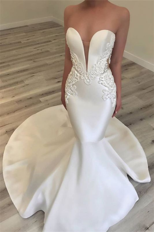 Elegant Sweetheart Mermaid Satin Bridal Gowns Sexy Lace Open Back Wedding Dresses 2020 Bc0628 Newarrivaldress Com