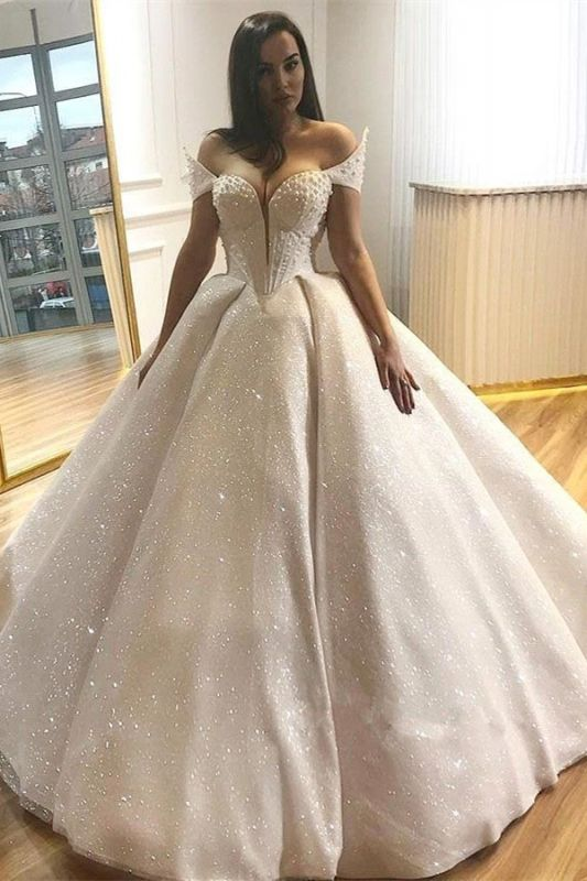 Glamorous Off-the-Shoulder Beading Wedding Dresses | 2019 Sequins Ball Gown Bridal Gowns