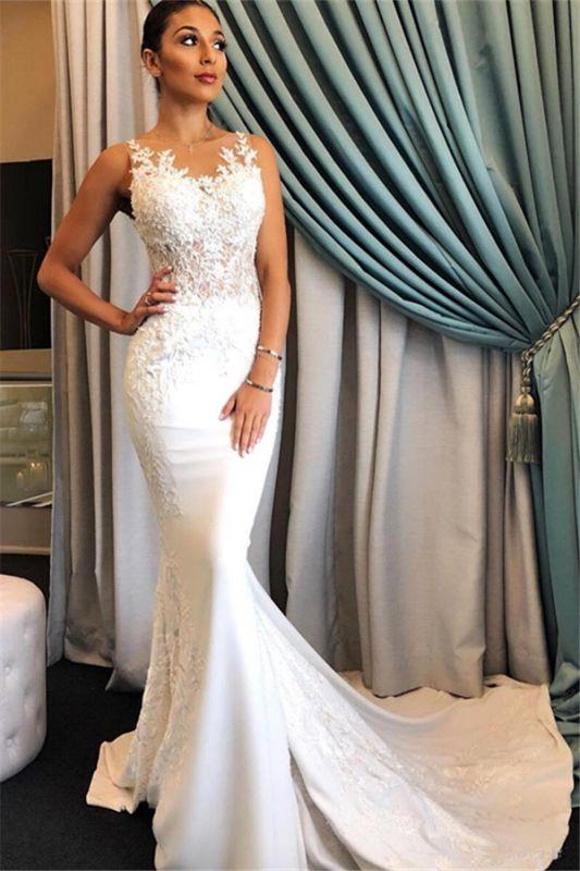Elegant Sleeveless Mermaid Sheer Wedding Dresses | 2019 Lace Sweep Train Bridal Gowns