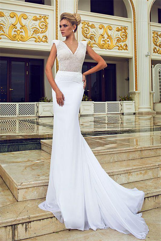 Elegant Mermaid Beading Wedding Dresses V-Neck Open Back Chiffon Bridal Gowns