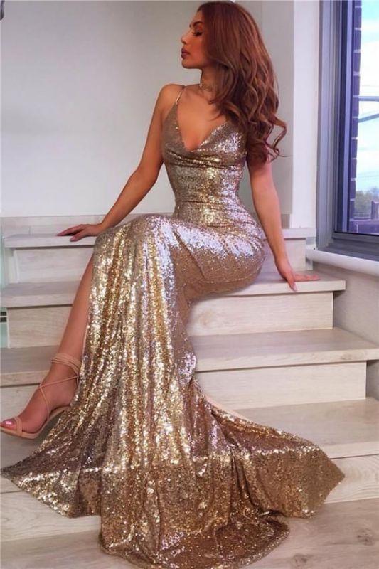 Spaghetti Straps V-neck Champagne Gold Sequins Formal Dress | Long Prom Dresses Cheap BA7769