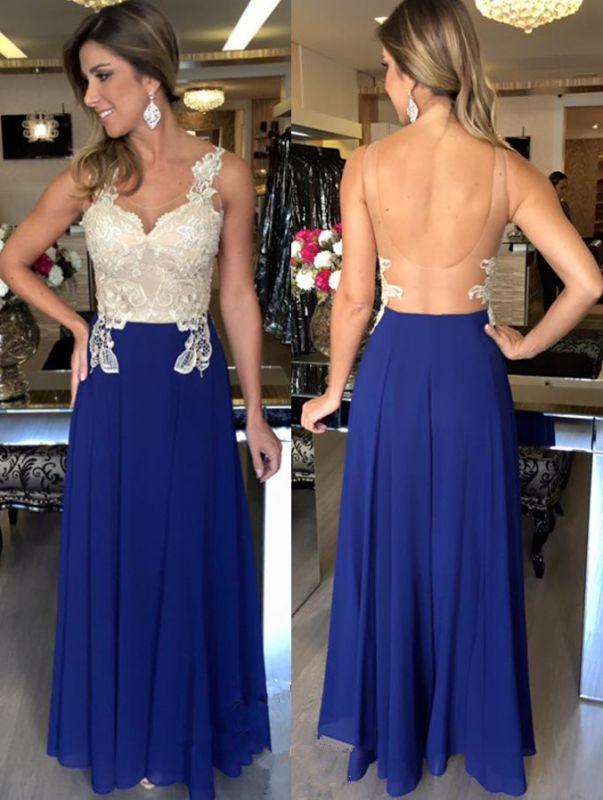 A-Line Natural Elegant Applique Sleeveless Open-Back Prom Dresses
