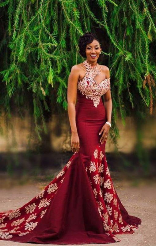 Halter Mermaid Long Prom Dress | Lace Appliques Formal Dress BA7749
