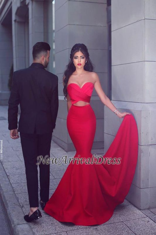 Arrival New Sexy Long Sleeveless Sweetheart Mermaid Red Evening Dresses