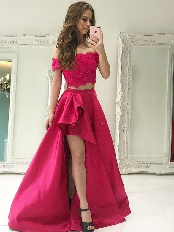 Chic Beading Two-Piece Prom Dresses | Lace Off-the-Shoulder Hi-Lo Party Dresses