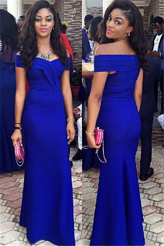 Royal Blue Prom Dresses Off-the-Shoulder  Elegant Evening Gowns
