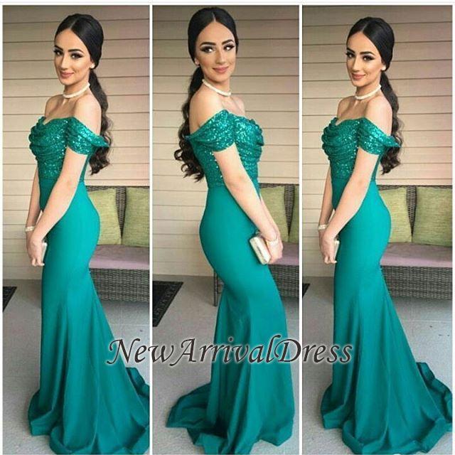 Mermaid Off-the-Shoulder Dark-Green Sequins-Top Evening Gowns