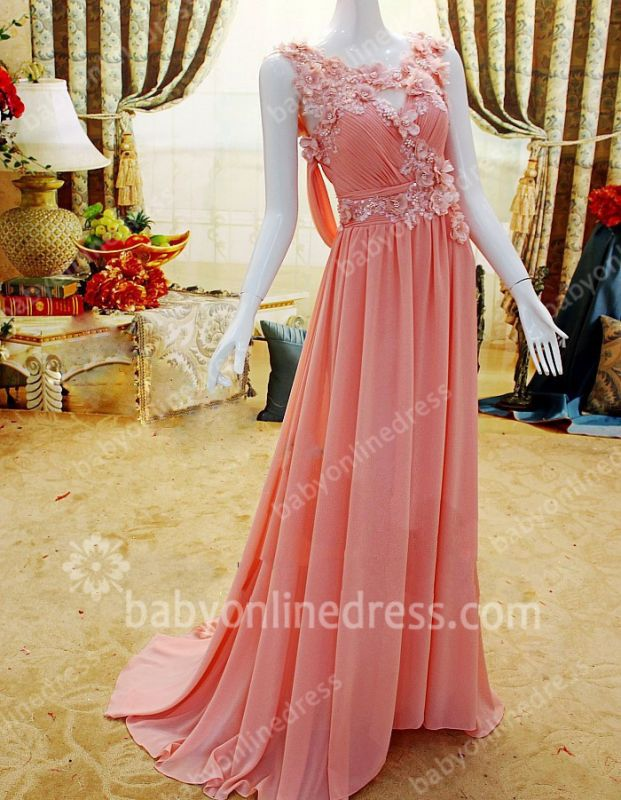 New Coming Prom Gowns A-line Sleeveless Chiffon Flower Appliques Beading Zipper Evening Dresses