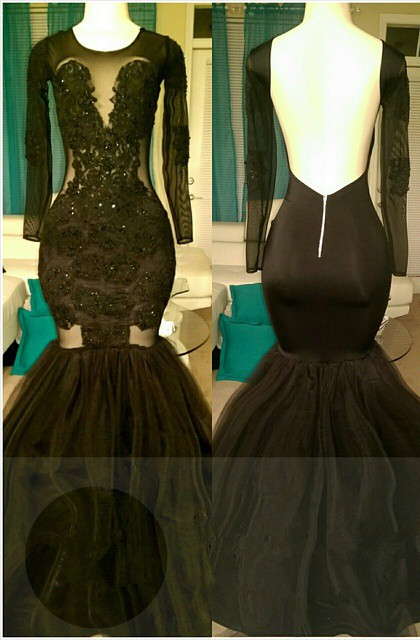 Open Back Mermaid Black Long Prom Dresses Cheap for Juniors | Long Sleeve Plus Size Tulle Formal Evening Gowns bc1324
