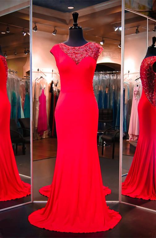 Newest Red BeadingEvening Dress Cap Sleeve Mermaid Sweep Train