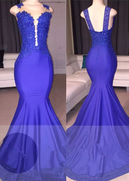 Straps Beads Appliques Mermaid Evening Gowns   Sleeveless Court-Train Prom Dresses Cheap