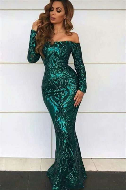 Green Off The Shoulder Formal Dresses with Sleeves | Long Mermaid Sequins Prom Dresses BC0703