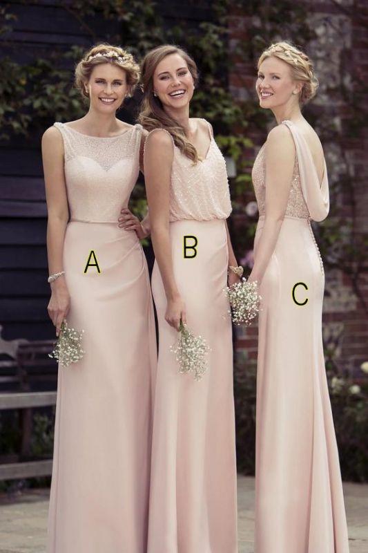 Cheap Apricot Long Chiffon Bridesmaid Dresses
