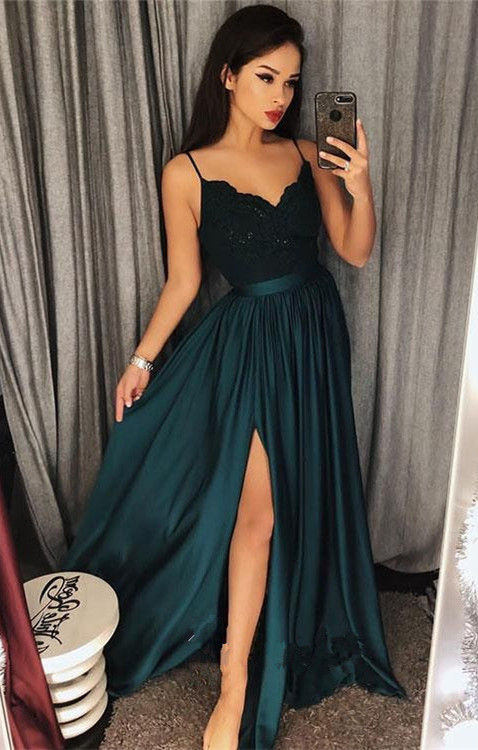 Dark-Green Spaghetti-StrapsProm Dress | Lace Evening Gowns With Slit