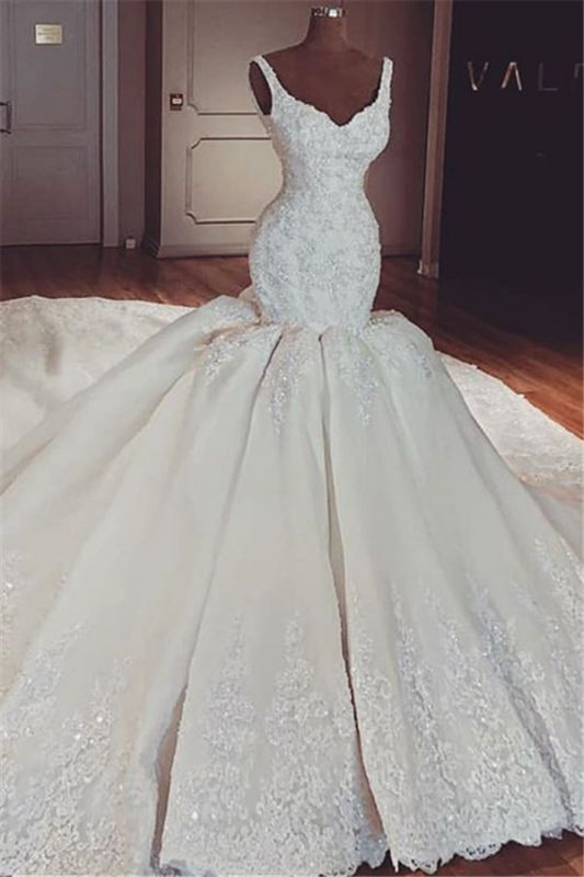 Glamorous Mermaid Puffy Lace Wedding Dresses | 2021 Straps Lace Appliques Sleeveless Bridal Gowns