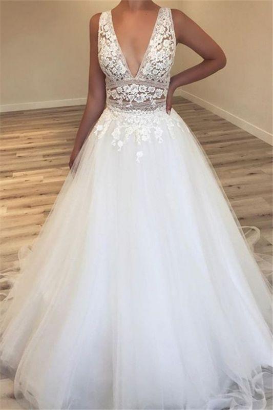 Glamouröse Brautkleider mit V-Ausschnitt | 2021 ärmellose Tüll Sexy Brautkleider