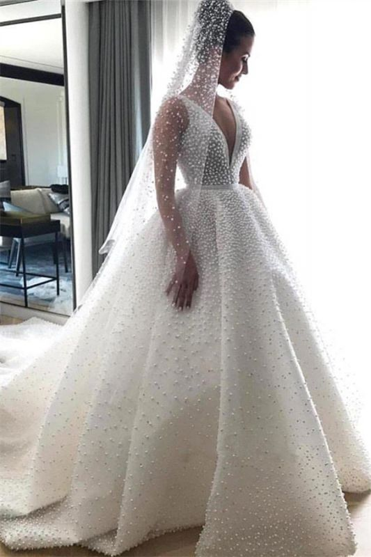 V-neck Sleeveless Full Beads Princess Royal Wedding Dress | Luxury Ball Gown Bridal Dresses 2019