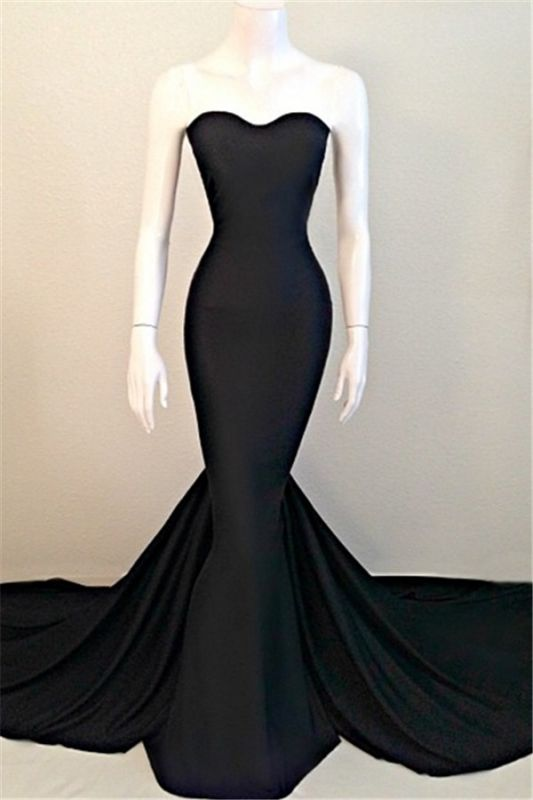 Strapless Black Long Prom Dresses Cheap | Mermaid Sleeveless Formal Dress with Court Train