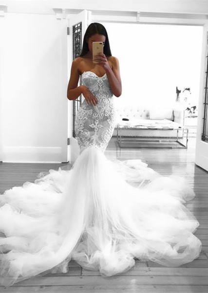 Romantic Sweetheart Beautiful Lace Sheer Wedding Dresses | Mermaid Online Cheap Bridal Gowns