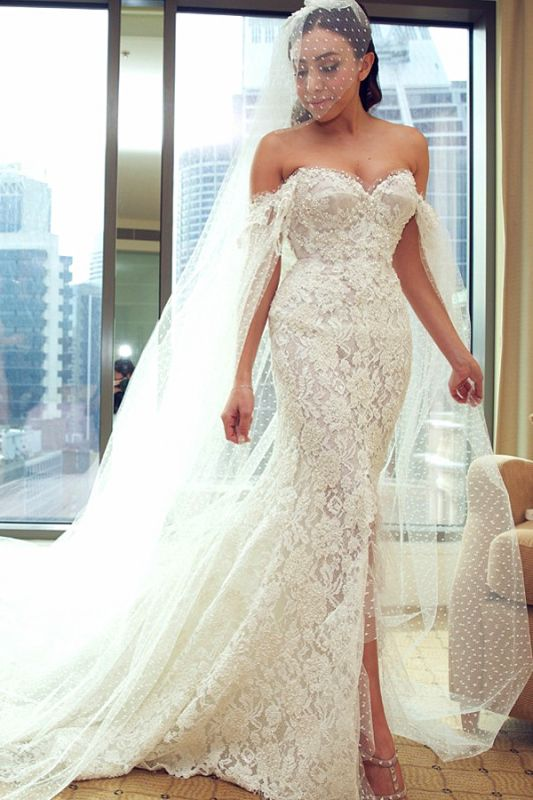 Gorgeous Sweetheart Lace Mermaid Wedding Dresses Cheap Front Slit Bridal Dresses with Tulle Wrap