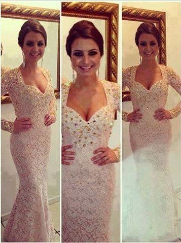New Sexy Prom Dresses Sweetheart White Beading Crystals Lace Mermaid Floor Length Long Sleeves Evening Gowns