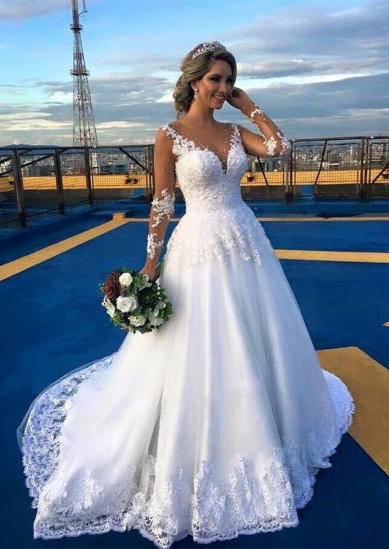 Wunderschöne Lace Sweep Zug 2018 Brautkleid Langarm Tüll Brautkleider BA6360
