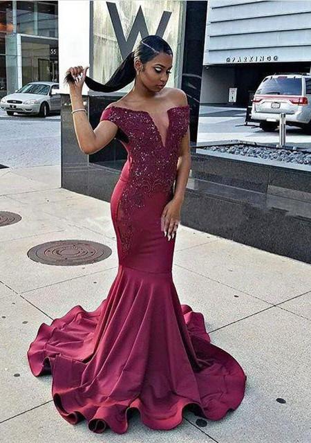 Modern Burgundy Beads Mermaid Prom Dress | Cap Sleeve Prom Dress BA8541