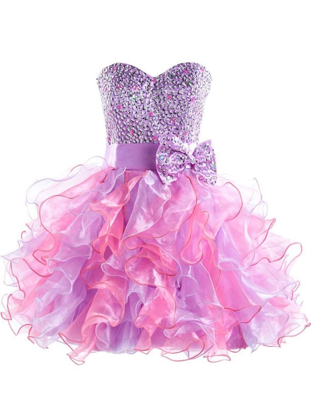 Colorful Sweetheart Organza Homecoming Dresses Sequined Lace-Up Cocktail Dresses