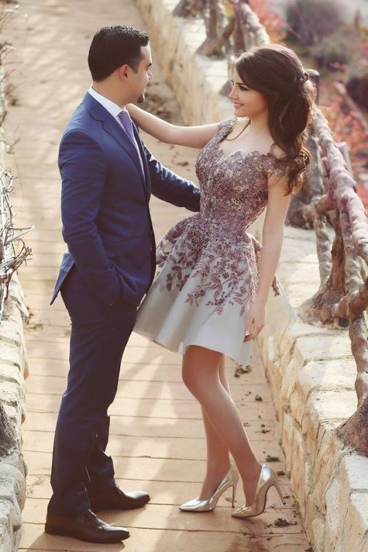 Gorgeous Off the Shoulder Lace Appliqeus Short Prom Dresson Sale