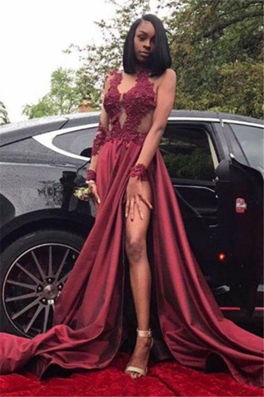 Burgundy Plus Size Long Sleeve Prom Dresses Appliques Side Slit Formal Dresses SK0107