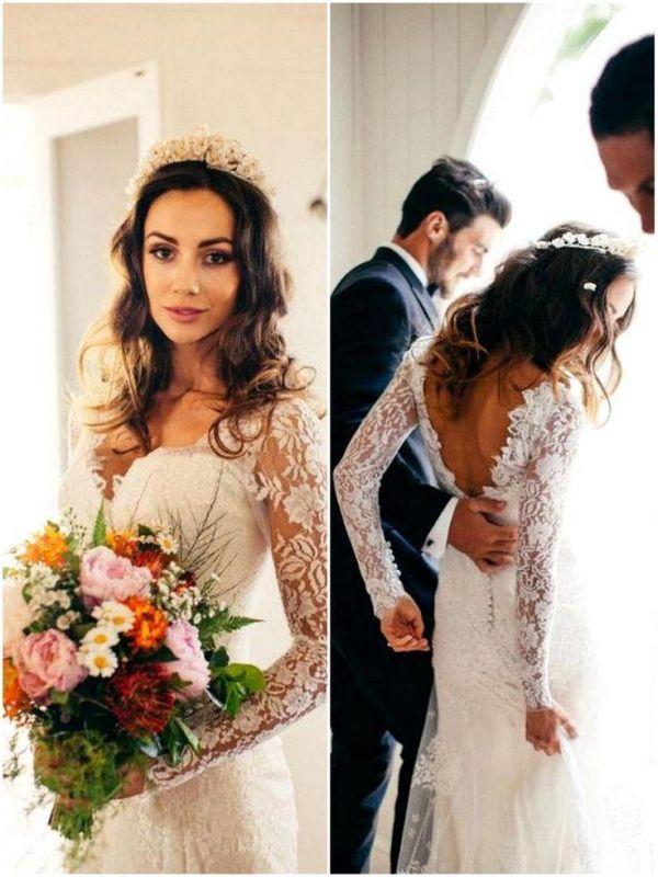 Elegante Spitze Langarm Brautkleider Neueste V-Ausschnitt Open Back Brautkleider