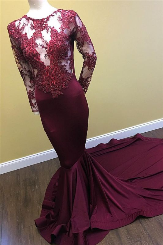 Mermaid Long Sleeve Long Prom Dresses Cheap on Mannequins | Sheer Tulle Appliques Formal Dresses