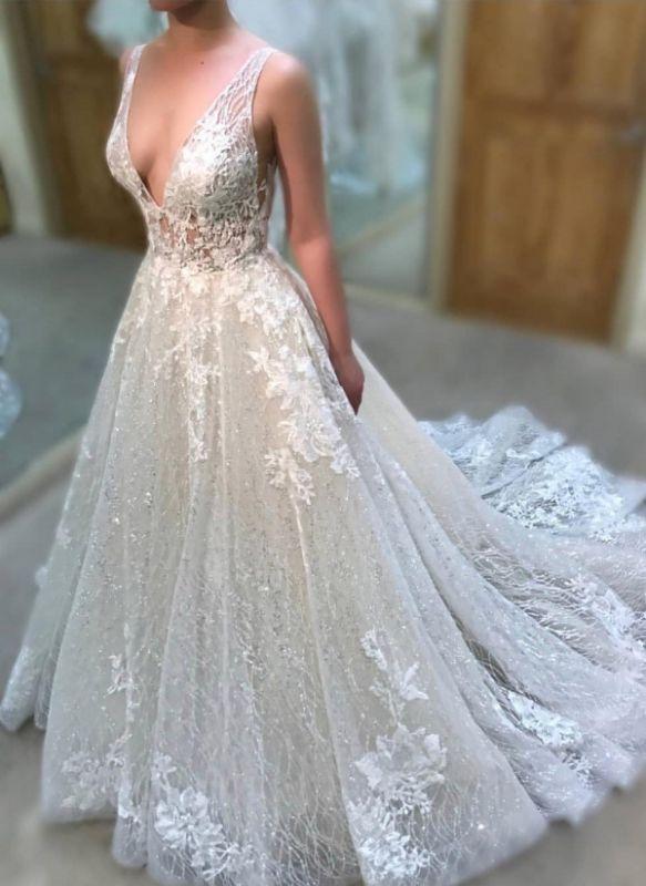 Träger A-Linie Perlenstickerei Applikationen Brautkleider | Ärmellose Brautkleider mit V-Ausschnitt